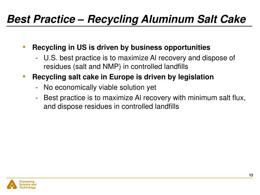 Best Practice – Recycling Aluminum Salt Cake