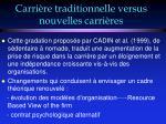 carri re traditionnelle versus nouvelles carri res11
