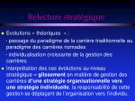 relecture strat gique