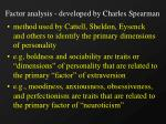 factor analysis developed by charles spearman