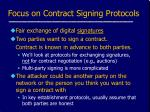 focus on contract signing protocols