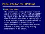 partial intuition for flp result
