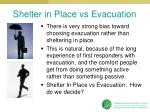 shelter in place vs evacuation