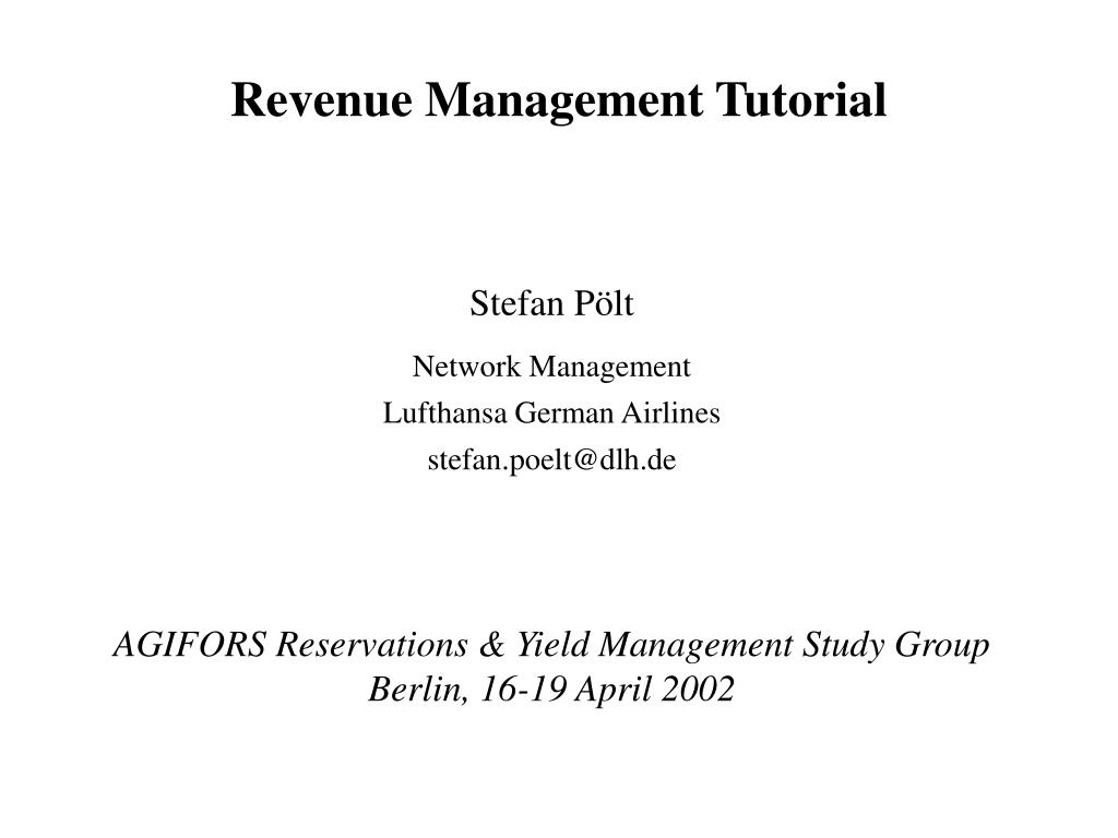 revenue management tutorial l.
