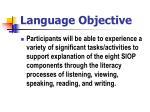 language objective
