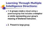 learning through multiple intelligence directions