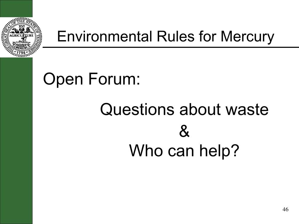 Environmental Rules for Mercury