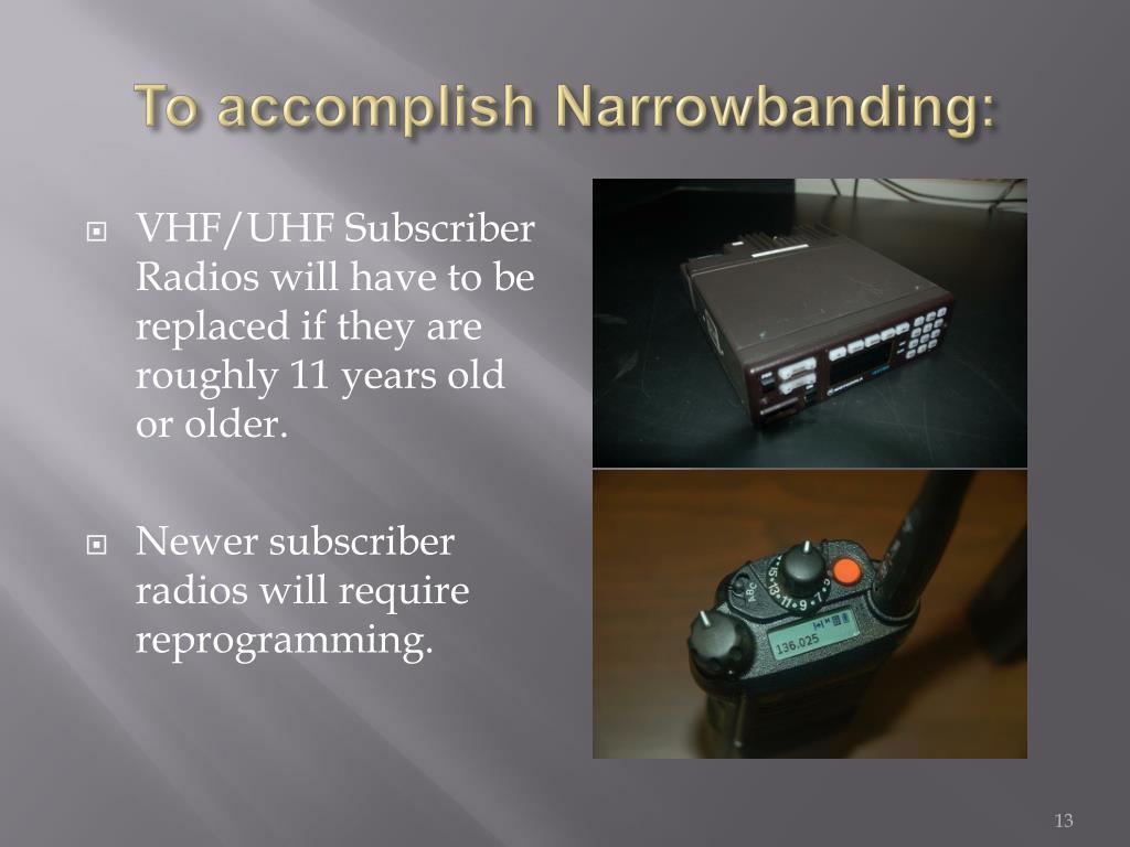 To accomplish Narrowbanding: