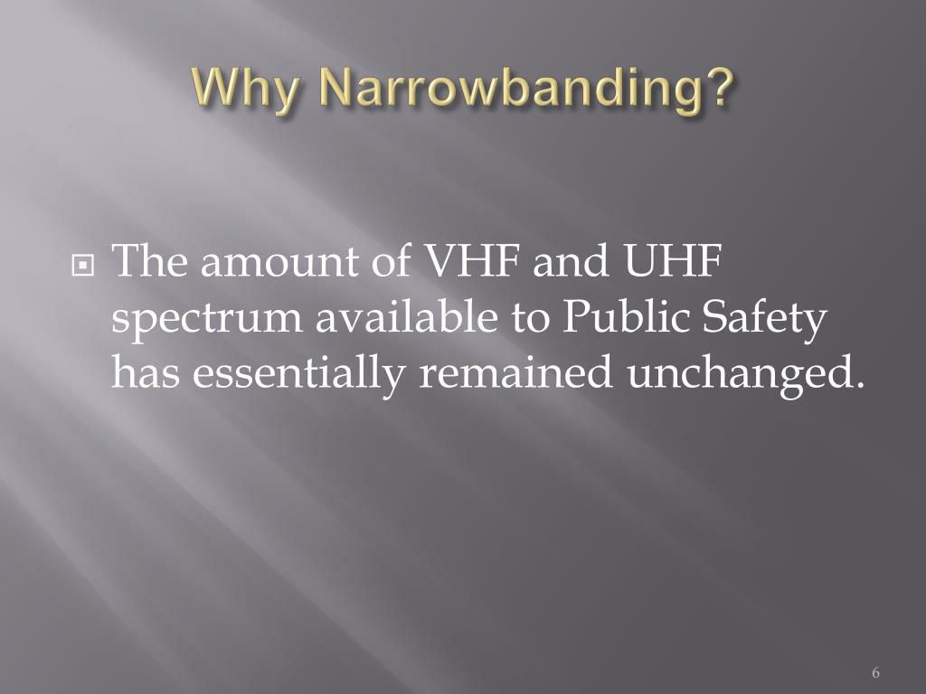 Why Narrowbanding?