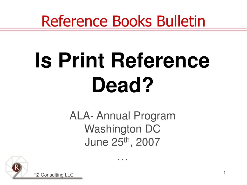 is print reference dead ala annual program washington dc june 25 th 2007 l.