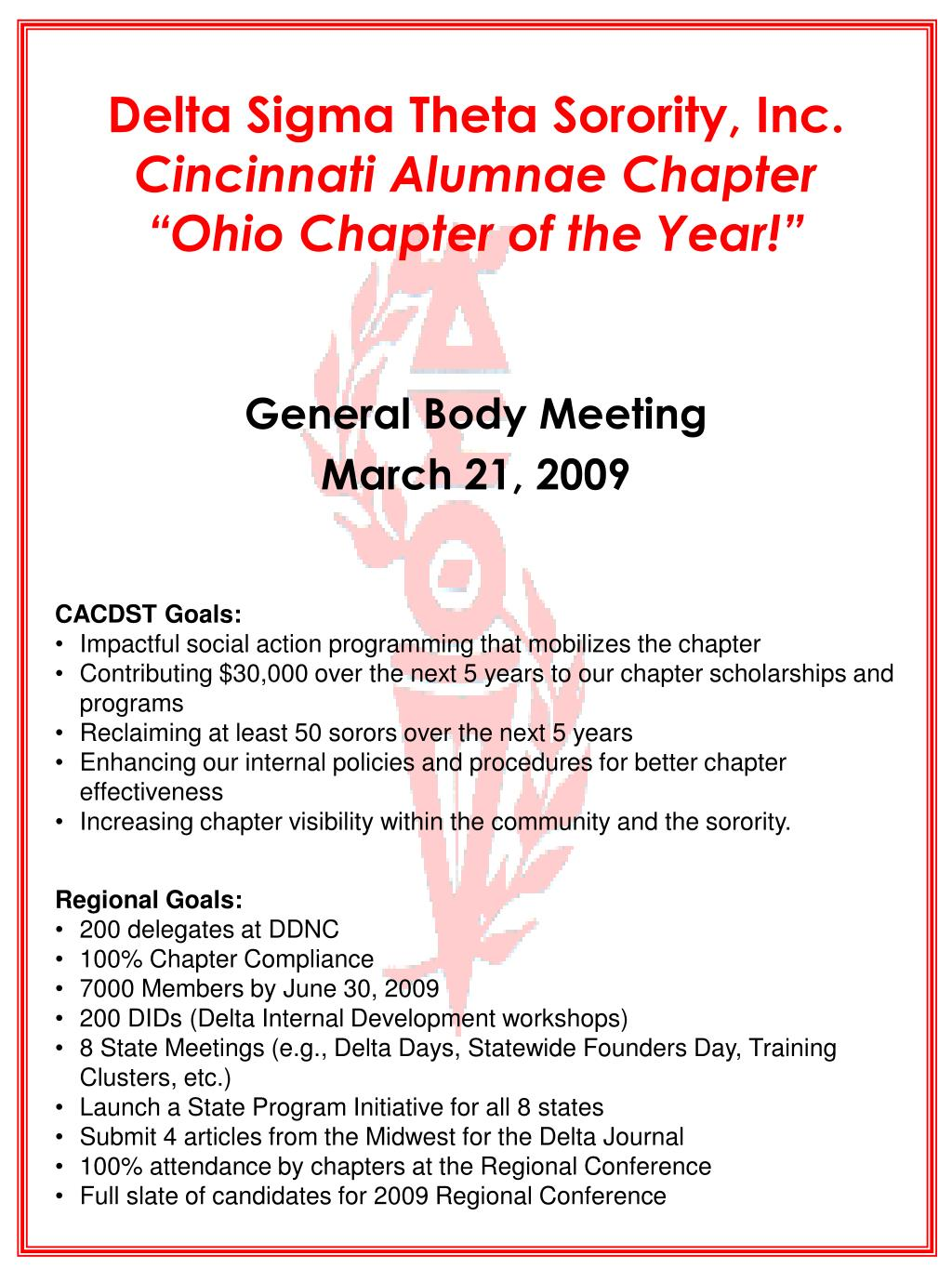 delta sigma theta sorority inc cincinnati alumnae chapter ohio chapter of the year l.