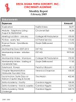 monthly report february 200917