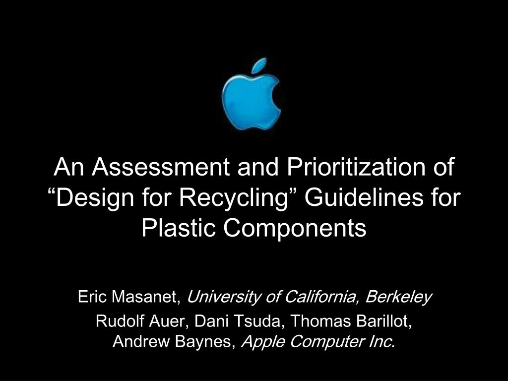 an assessment and prioritization of design for recycling guidelines for plastic components l.