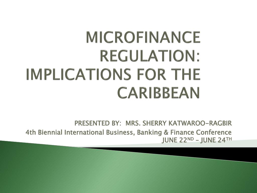 microfinance regulation implications for the caribbean l.