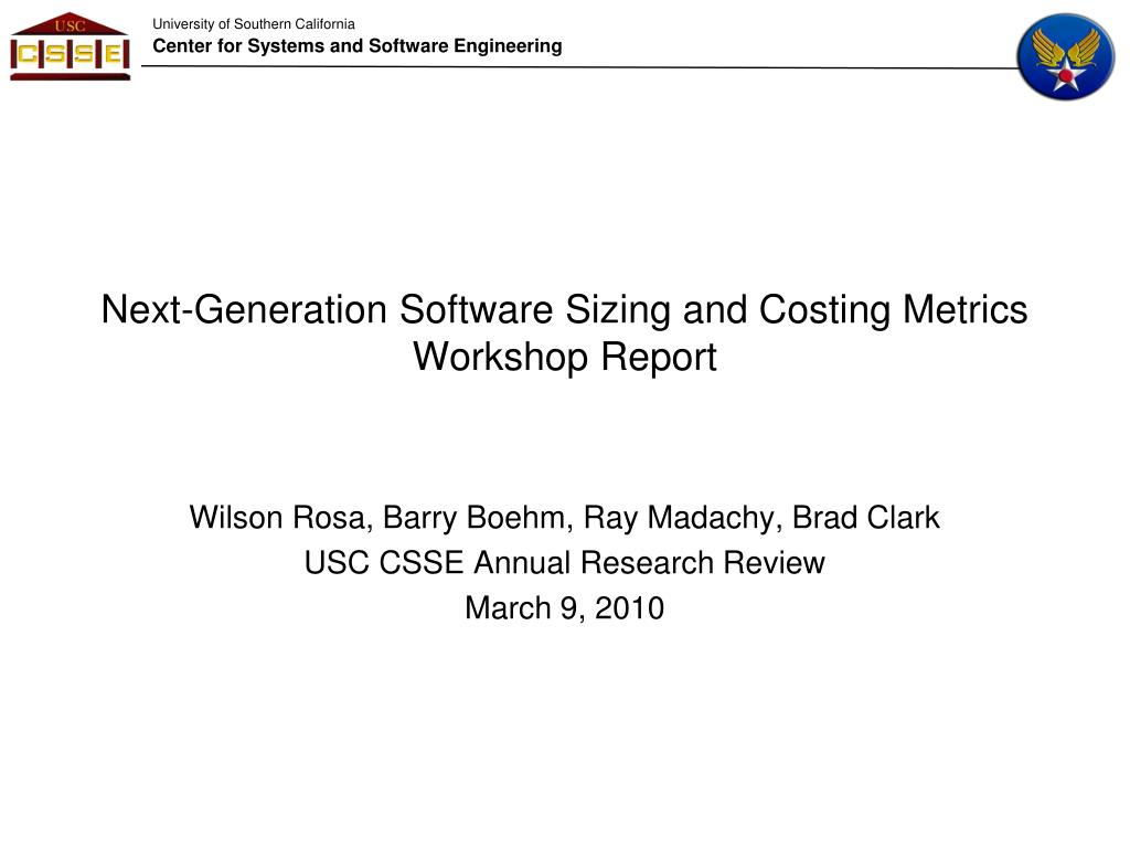 next generation software sizing and costing metrics workshop report l.