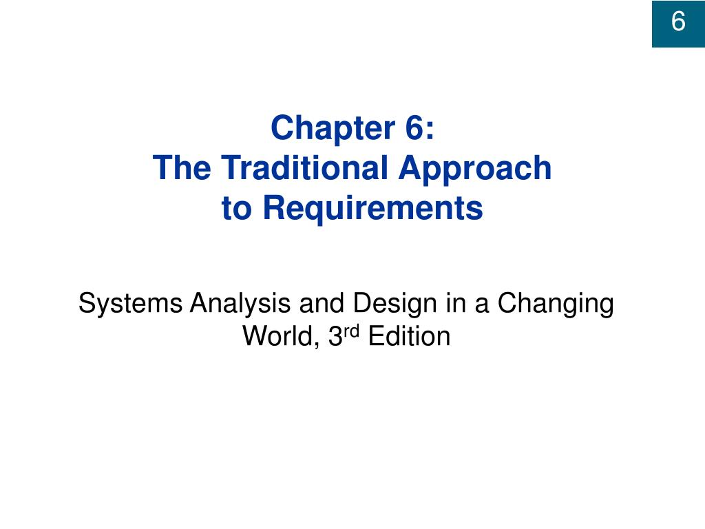 chapter 6 the traditional approach to requirements l.