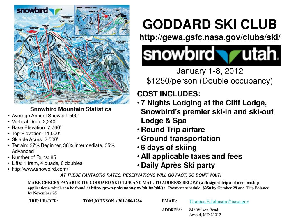 goddard ski club http gewa gsfc nasa gov clubs ski january 1 8 2012 1250 person double occupancy l.