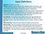input definitions