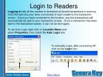 login to readers