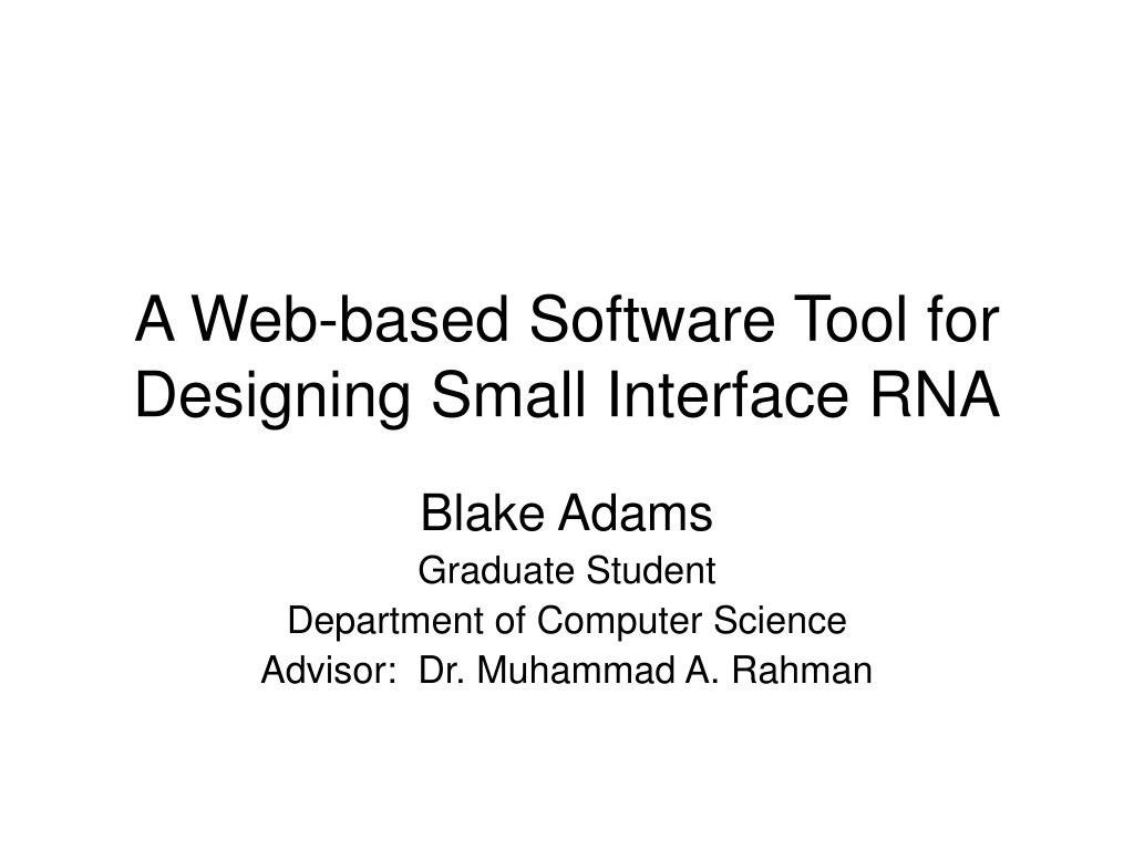 a web based software tool for designing small interface rna l.