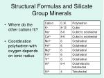 structural formulas and silicate group minerals