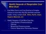 health hazards of respirable coal mine dust