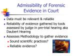 admissibility of forensic evidence in court
