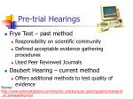 pre trial hearings