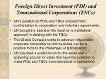 foreign direct investment fdi and transnational corporations tncs