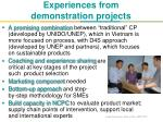 experiences from demonstration projects