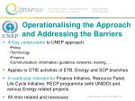 operationalising the approach and addressing the barriers