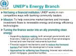 unep s energy branch