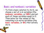 basic and nonbasic variables14