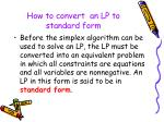 how to convert an lp to standard form