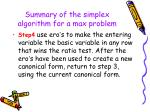 summary of the simplex algorithm for a max problem46