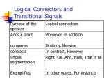 logical connectors and transitional signals