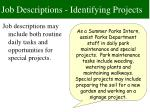 job descriptions identifying projects