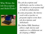 who writes the job description and skills tasks