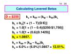 calculating levered betas