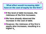 what effect would increasing debt have on the cost of equity for the firm