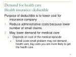 demand for health care health insurance deductible