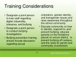 training considerations