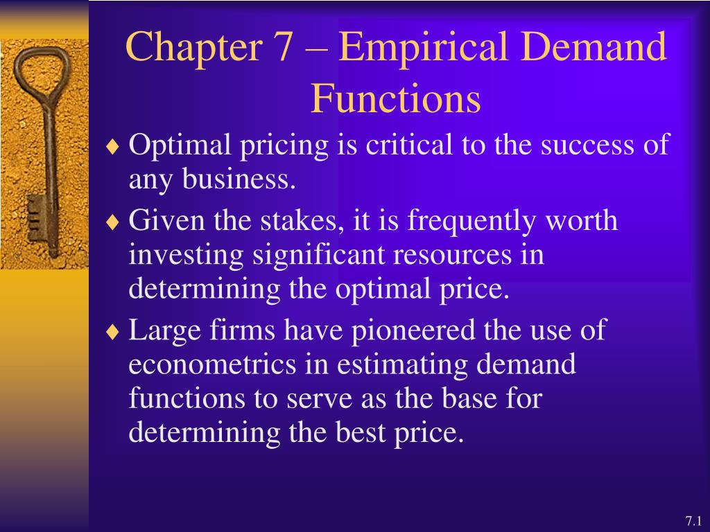 chapter 7 empirical demand functions l.