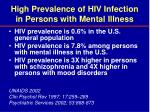 high prevalence of hiv infection in persons with mental illness