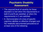 psychiatric disability assessment