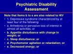 psychiatric disability assessment36