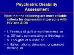 psychiatric disability assessment37