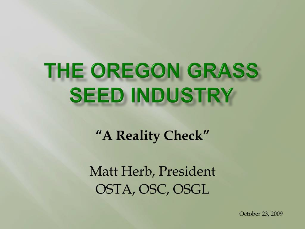 the oregon grass seed industry l.