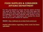 food supplies consumer affairs department