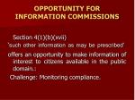 opportunity for information commissions